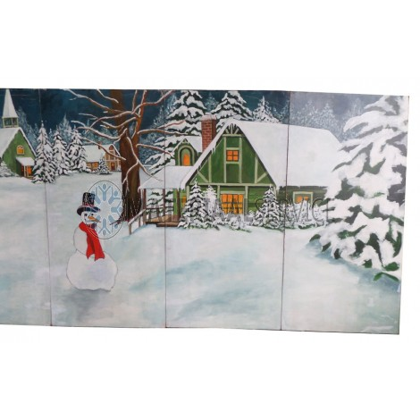 Winter / kerst decor afm. 8,75 mtr. breed